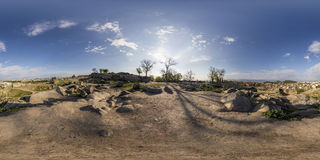 360 gradi di panorama del tepe di Nebet a Filippopoli, Bulgaria Immagini Stock