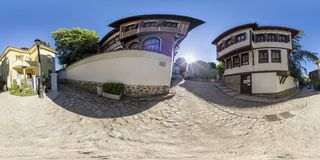 360 gradi di panorama della casa di Balabanov a Filippopoli, Bulgaria Fotografia Stock