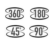 360 gradi di vista di icona del segno Segni con le frecce indicare la rotazione o i panorami a 360 gradi Illustrazione di vettore illustrazione di stock