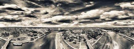 360 gradi panoramici di vista aerea di Dresda Altstadt e Neust Immagine Stock Libera da Diritti