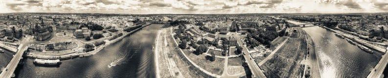 360 gradi panoramici di vista aerea di Dresda Altstadt e Neust Fotografia Stock Libera da Diritti