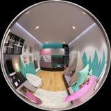 360 gradi sferici, camera da letto senza cuciture di panorama Fotografie Stock Libere da Diritti