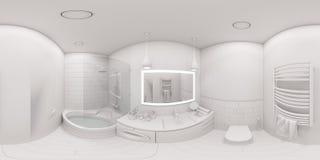 gradi sferici dell'illustrazione 3d 360, panorama senza cuciture del bagno Immagini Stock Libere da Diritti