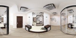 gradi sferici dell'illustrazione 3d 360, panorama senza cuciture del corridoio Immagine Stock