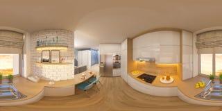 gradi sferici dell'illustrazione 3d 360, panorama senza cuciture del livi Fotografie Stock