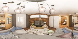 gradi sferici dell'illustrazione 3d 360, panorama senza cuciture di salone e interior design della cucina Immagini Stock Libere da Diritti
