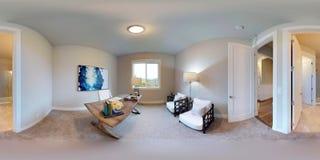 gradi sferici dell'illustrazione 3d 360, panorama senza cuciture di una casa Immagine Stock Libera da Diritti