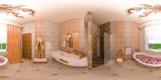 gradi sferici dell'illustrazione 3d 360, panorama senza cuciture dell'interno del bagno Immagini Stock Libere da Diritti