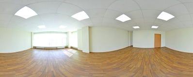 360 gradi sferici della proiezione di panorama, panorama nella stanza vuota interna in appartamenti piani moderni Fotografia Stock