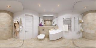 360 gradi sferici di panorama 3D del bagno Fotografie Stock Libere da Diritti