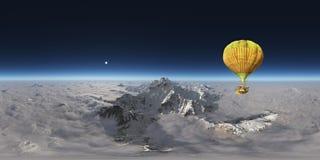 360 gradi sferici di panorama senza cuciture con una mongolfiera di fantasia sopra un panorama nuvoloso della montagna royalty illustrazione gratis