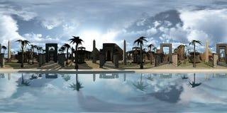 360 gradi sferici, panorama senza cuciture del archtecture di egitto antico sull'orlo del Nilo rappresentazione 3d illustrazione di stock