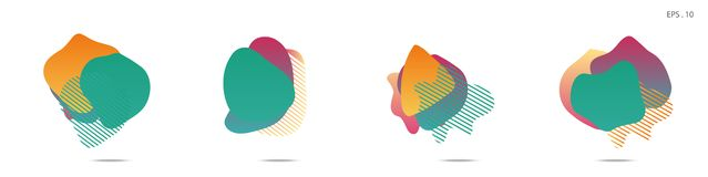 Gradient abstract banners with flowing liquid shapes stock illustration