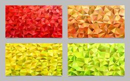 Gradient abstract triangle polygon mosaic card template background set - vector designs. From colored triangles vector illustration