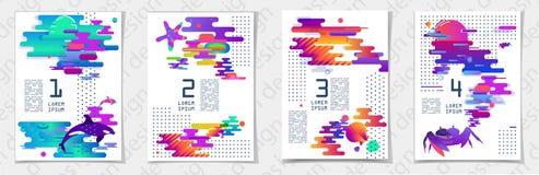 gradient abstrait Bandes, courbes, acides modernes futuristes et couleurs fluorescentes illustration libre de droits