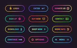 Gradient action buttons. Flat web submit form, modern transition sign, game navigation ui design element. Vector stock illustration