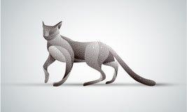 Gradient animal logo design. Stipple cat silhouette. Smooth gradient dots cat pet silhouette on white Royalty Free Stock Photo