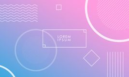 Gradient background with circles and lines. Thin frame on pink and blue gradient vector background with circles squares and lines Royalty Free Stock Image