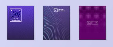 Gradient backgrounds for business brochure cover design. With geometric colorful shapes dots point. Texture gradient banners halftone geometric shapes. Blue royalty free illustration
