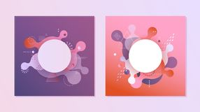 Gradient banners set - fluid color abstract geometric and bubble shapes on violet and red backgrounds. Gradient banners set - fluid color abstract geometric and Stock Photo
