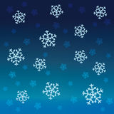 Gradient blue snow falling vector pattern Stock Images