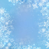 Gradient blue winter square banner background with snowflake Royalty Free Stock Image