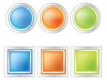 Gradient Buttons. Square and round gradient buttons easy to resize or change color Royalty Free Stock Images