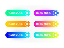 Gradient buttons set isolated on white background. Read More button concept. Web site interface. Colorful button vector illustration
