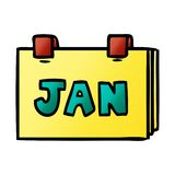 Gradient cartoon doodle of a calendar with jan. A creative illustrated gradient cartoon doodle of a calendar with jan vector illustration