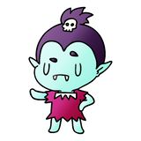 Gradient cartoon illustration kawaii of cute vampire girl. A creative gradient cartoon kawaii of cute vampire girl stock illustration