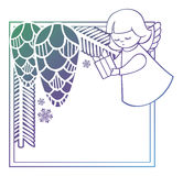 Gradient Christmas frame with cute angel. Copy space. Royalty Free Stock Images