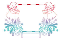 Gradient Christmas frame with cute angels. Copy space. Stock Image