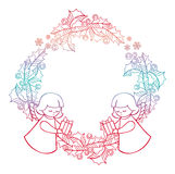Gradient Christmas frame with cute angels. Copy space. Royalty Free Stock Photography