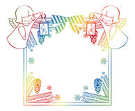 Gradient Christmas frame with cute angels. Copy space. Royalty Free Stock Photos