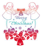 Gradient Christmas label with angel and text: `Merry Christmas!`. Stock Photos