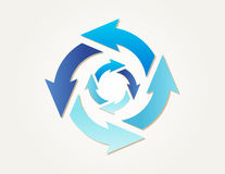 Gradient circle arrows. Two different gradient circles of arrows with different blue colors Royalty Free Illustration