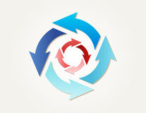 Gradient circle arrows. Two different gradient circles of arrows with different blue colors and red colors Stock Illustration