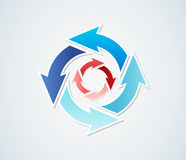 Gradient circle arrows. Two different gradient circles of arrows with different blue colors and red colors Vector Illustration