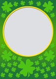 Gradient with clover leafs. A nice green gradient frame with clover leafes and a round frame for filling with text Stock Photo