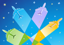 Gradient Color 3D Vector Airplanes. Gradient Color Commercial Airplanes Vector Illustration Royalty Free Stock Photography