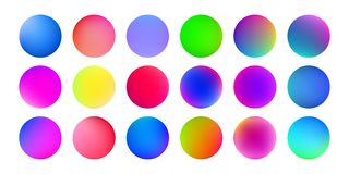 Gradient color circles, abstract watercolor paint splash or holographic liquid texture. Vector fluid texture colors blend. Abstract pattern background stock illustration