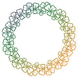Gradient color round frame with shamrock contour. Raster clip ar Royalty Free Stock Photography