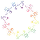 Gradient color round frame with shamrock contour. Raster clip ar Stock Photo