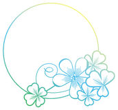 Gradient color round frame with shamrock contour. Raster clip ar Royalty Free Stock Photo