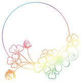 Gradient color round frame with shamrock contour. Raster clip ar Stock Photos