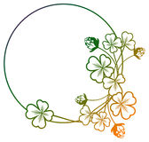 Gradient color round frame with shamrock contour. Raster clip ar Royalty Free Stock Photos