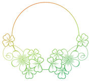 Gradient color round frame with shamrock contour. Raster clip ar Stock Photography