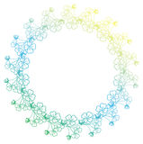 Gradient color round frame with shamrock contour. Raster clip art. Royalty Free Stock Photo