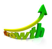 Gradient colored arrow and the word Growth. The word Growth rendered over white with extreme wide-angled lens and a gradient from a red letter G to a green Stock Photo