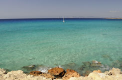 Gradient of colors on the sea of Formentera Stock Photography